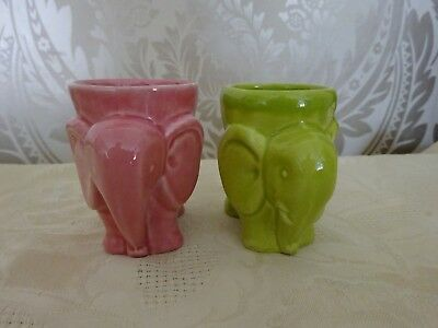 Vintage Retro Pair of  Novelty Egg Cups Pink & Green Elephants