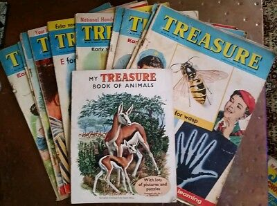 12 x TREASURE  MAGAZINES FROM 1963 TO 1965 + RARE ISSUE 1's BOOK OF ANIMALS Sup.