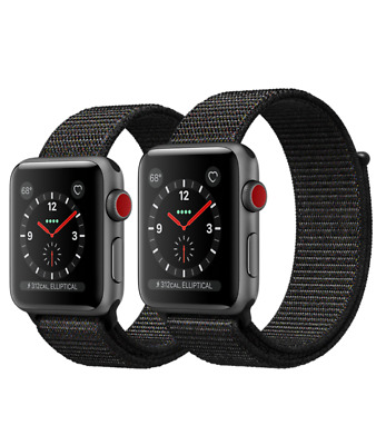 Apple Nike Watch Series 3 38mm Space Aluminum Case Nylon Sport Loop Band  FedEx