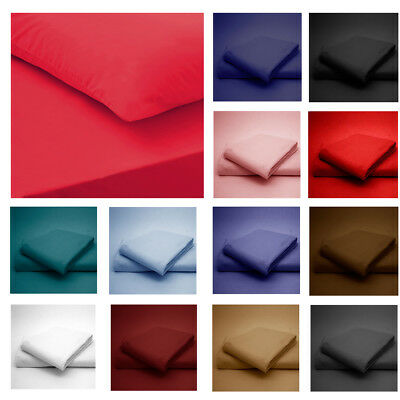Flat Bed Sheet Set Pillowcases Luxury Non Iron Percale Single King Standard Size