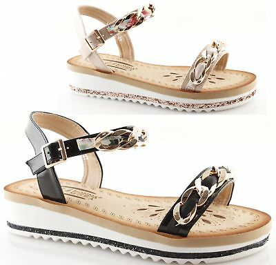 Low Sandalias mujer Chain Dxbceo Powder Low Satin Black elegantes para Wedge 5ARLqj43