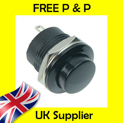 Black Off-(On) Low Profile Round 16mm Momentary Push Button Switch SPST R13-507