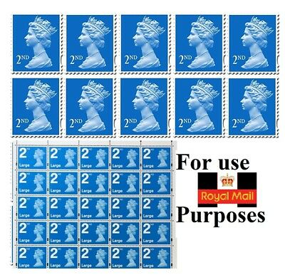 Second 2Nd Class Unfranked Small Large Stamps, On Paper , With Gum Blue Combi