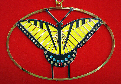 Charlie/ Charley Harper - Brass Ornament - TIGER SWALLOWTAIL - fun butterfly art