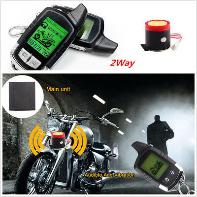 Long Two Way Remote Engine Start Motorcycle Security Alarm System LCD Status
