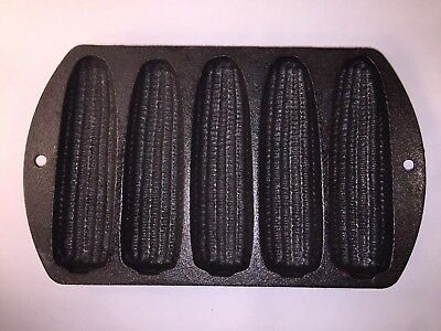 Vtg. Lodge Cast Iron Corn Bread Pan Of 5 Number 527C2 Made in USA Corn Ear Shape