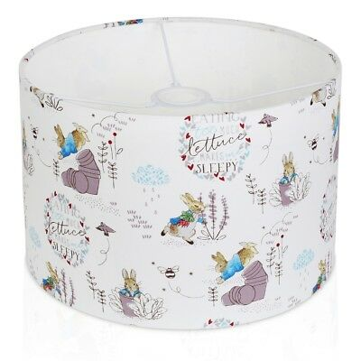 Handmade Beatrix Potter WHITE Peter Rabbit Drum Lampshade, Ceiling Light / Table