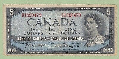 1954 Bank of Canada 5 Dollar Note Devil's Face - Beattie/Coyne- G/C1920479 - VG