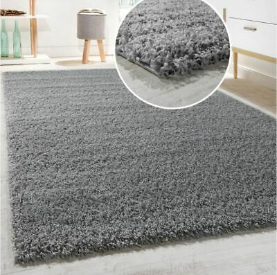 Large Silver Grey Shaggy Rug Thick Long Pile Mat Cosy Cuddly Soft Home Carpet