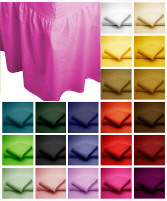 Plain Dyed Frilled Valance Fitted Sheets Luxury Poly Cotton Single Double King
