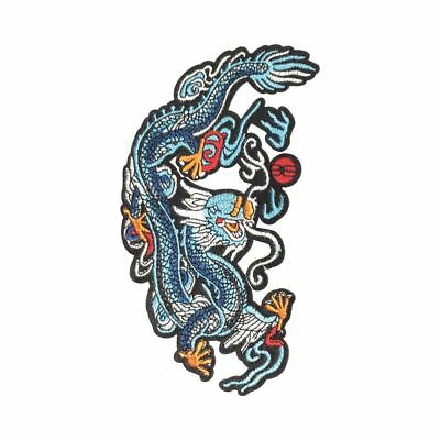 Blue Chinese Dragon L (Iron On) Embroidery Applique Patch Sew Iron Badge