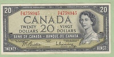 1954 Bank of Canada 20 Dollar Note - Beattie/Rasminsky - R/E4758945 - EF