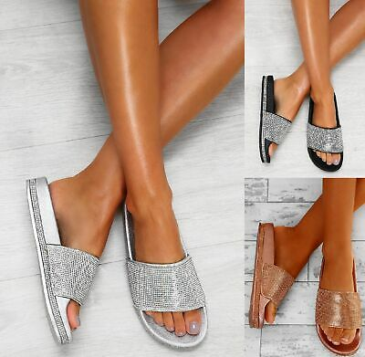 Ladies Womens Diamante Slider Summer Flat Mid Heel Comfy Flip Flop Sandals Shoes