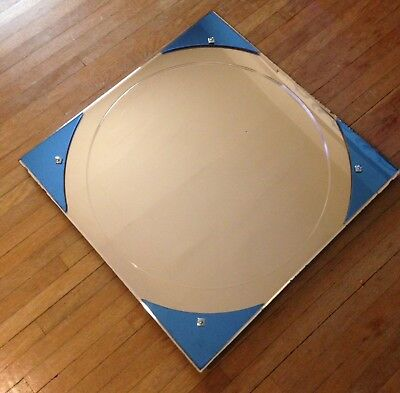 Vintage Art Deco Square Rare Peach and Cobalt Blue Wall Mirror circa 1920-1930's
