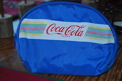 "Blue Coca-Cola Small Zipper Purse Bag Pouch Cosmetic/Accessories Size 7""x 5"""