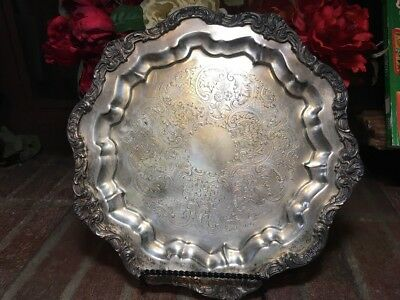 "CORONET Silver on copper footed tray 13"" Round Ornate Great Patina Vintage"