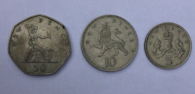 1960s - 1970s New Pence 50, 10, 5 Lot Of 3 UK United Kingdom COLLECTION Coins