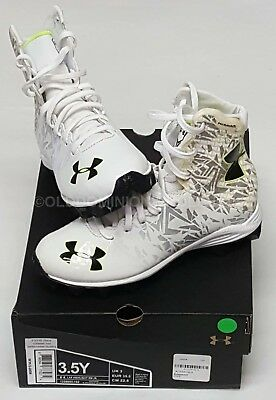 NEW Under Armour Sz: 3.5Y White LAX Highlight RM JR. Lacrosse / Football Cleats