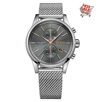 New Hugo Boss 1513440 Mens Grey Jet Chronograph Watch Rose Gold Uk Stock