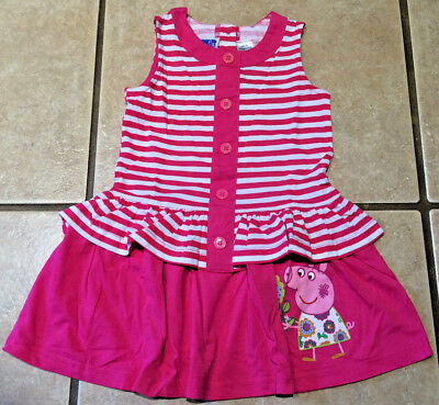 NWT License Peppa Pig Pink White Stripe Buttons Front Pink Ruffle Party Dress 3T