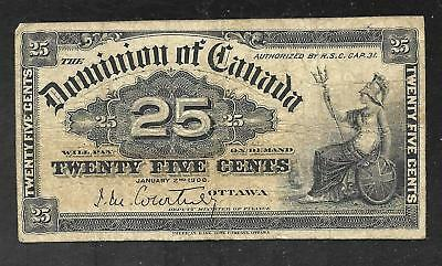 Canada - Scarce Old 25 Cent Note - 1900 - P9a (Courtney Sign.)  FINE