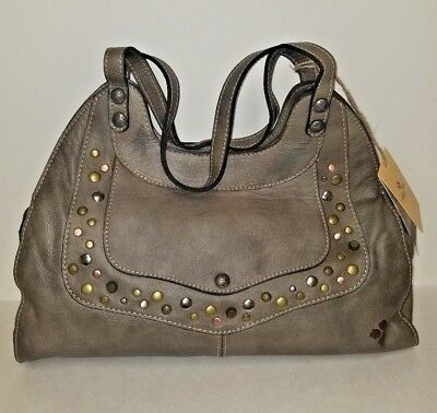 6ceb437803b5 Patricia Nash Leather Washed Denim Studded Ergo Satchel Grey Discontinued  WT W10