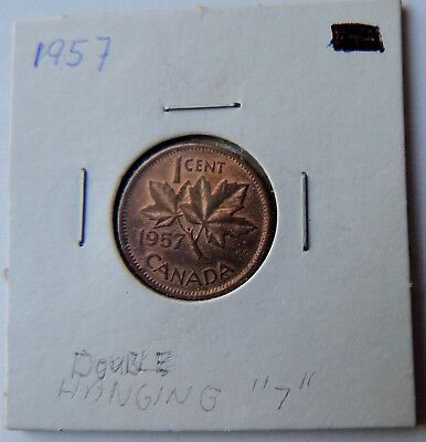 """1 Cent Penny Copper Coin Canada Double Hanging """"7""""  1957 UNC"""