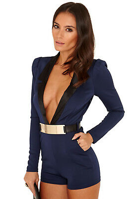 Missguided Judie Belted Tux Collar Playsuit Navy Black S NWT
