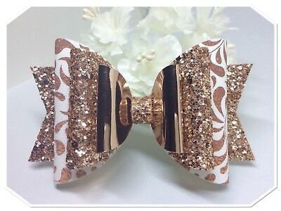 Girls Large Rose Gold And White Glitter hair bow / clip / glitter hair bow
