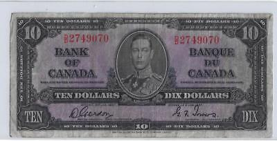 "1937  Ten Dollar Bank Note From Canada "" Nice Note """