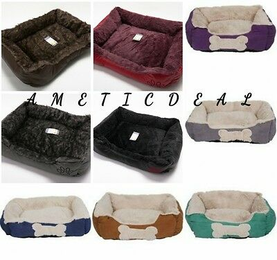 Pet Basket Bed with Fleece Soft Comfy Fabric Washable Dog Cat Cosy Dogs Cats*NEW
