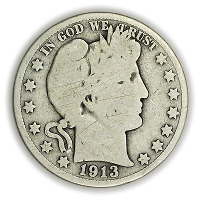 1913-S Barber Half Dollar, Large, Circulated Silver Coin, [3702.17]