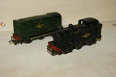 TT gauge 3mm TRI-ANG 2x Loco Diesel Shunter 08 BR Green 1300 Jinty FOR REPAIR