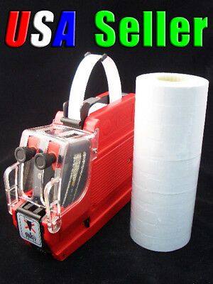 2 line Price Label Gun MX-6600 with 20 rolls (9200+) labels & 1 ink roller