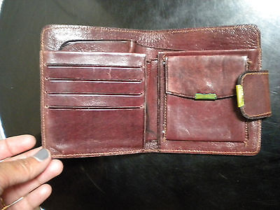 Vintage leather Wallet Rustic worn Small snap pocket size square