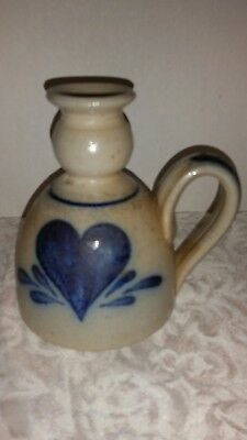Rowe Pottery 1991 Candle Holder With Blue Heart On The Front PERFECT Condition