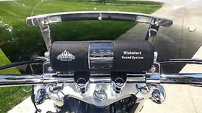 "Kickstart Black Bluetooth Motorcycle Stereo Speaker W/ 1 1/8"" Bar Kit Harley"