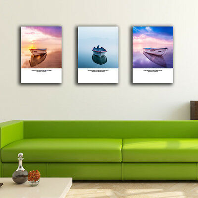 Framed Canvas Prints Stretched Abstract Sea Boat Wall Art Home Decor Painting