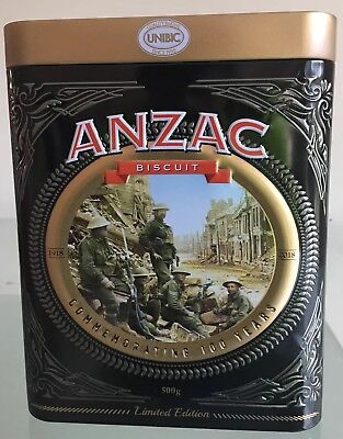 LIMITED EDITION UNIBIC ANZAC  BISCUIT TIN COMMEMORATING 100 Years 1918-2018