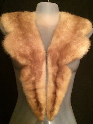 "Amazing! Vintage Cream w Beige Mink Fur Collar Satin Lining with Snaps 41""Long"