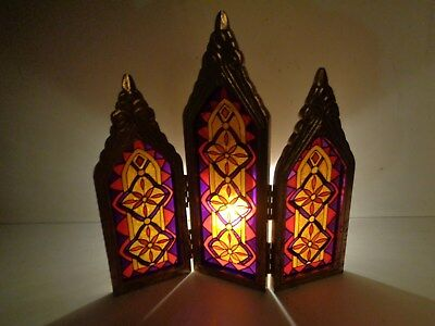 Vintage 3 Panel  Staind Glass Style Table Top Divider / Display FREE QUICK SHIP