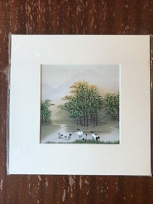 China Embroidery Art Inc Handmade Silk Royal Trees Grass Birds Matted Painting