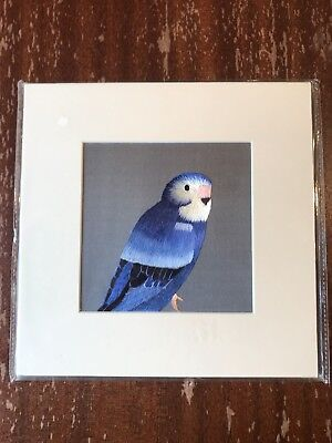 China Embroidery Art Inc Handmade Silk Royal Bird Blue Matted Painting
