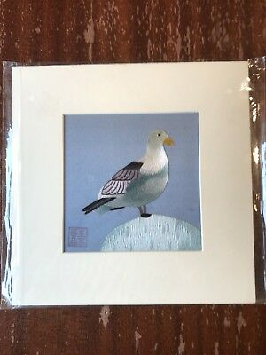 China Embroidery Art Inc Handmade Silk Royal Bird Blue White Matted Painting