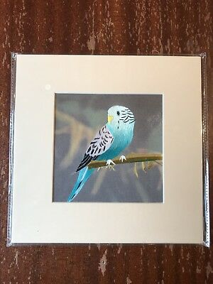 China Embroidery Art Inc Handmade Silk Royal Bird Blue Branch Matted Painting