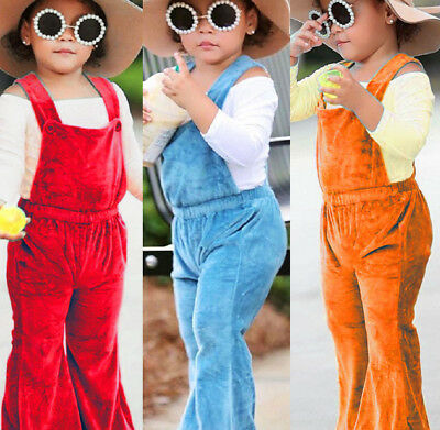 UK Solid Toddler Infant Kids Girls Silk Romper Jumpsuit Bib Flared Pants Clothes