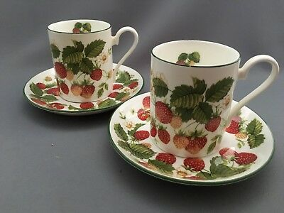 Roy Kirkham Fruit Garden Strawberry Coffee Can and Saucer x Two.