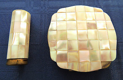 Beautiful Mother Of Pearl Compact And Matching Lipstick - Collectably - Vintage