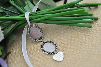 Bouquet Memory Frame Charm Photo Bride Wedding Flower Antique Silver Oval Gift