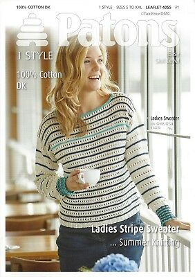 VAT FREE KNITTING PATTERN ONLY Patons Woman's Lady's Striped Sweater 4055  New